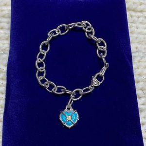 Judith Ripka 18K/925 Teal Heart Bracelet 💙✨
